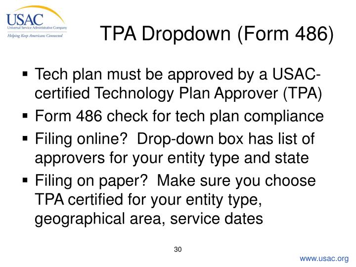 TPA Dropdown (Form 486)