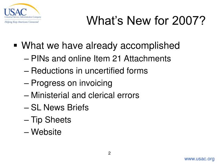 What s new for 2007