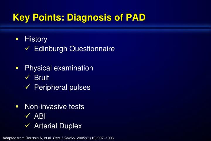 Key Points: Diagnosis of PAD