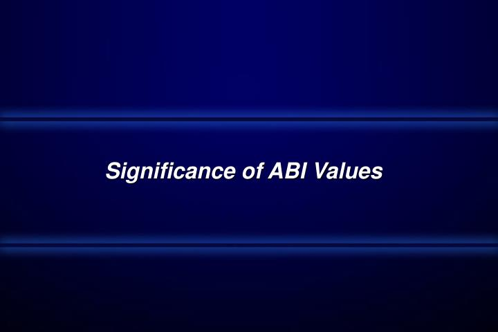 Significance of ABI Values
