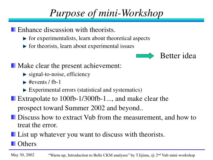 Purpose of mini-Workshop