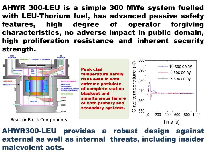 AHWR 300-LEU is a simple 300 MWe system fuelled with LEU-Thorium fuel, has advanced passive safety features, high degree of operator forgiving characteristics, no adverse impact in public domain, high proliferation resistance and inherent security strength.