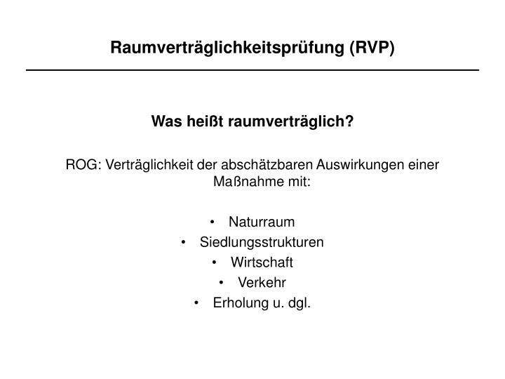 Raumverträglichkeitsprüfung (RVP)