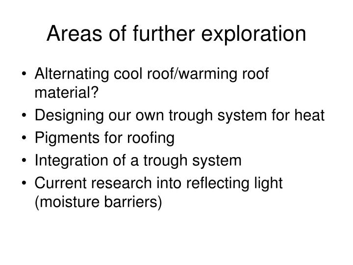 Areas of further exploration