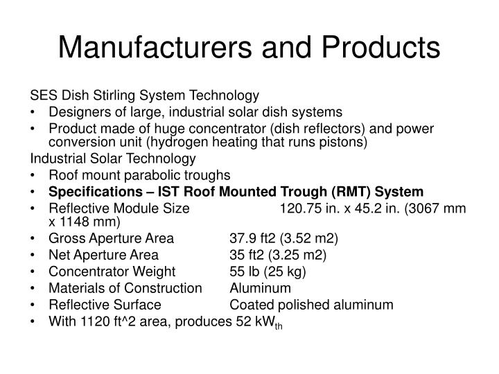 Manufacturers and Products