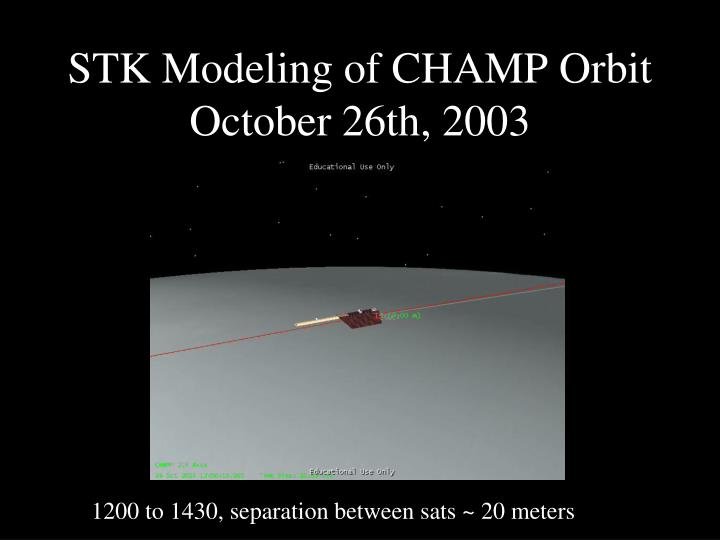 STK Modeling of CHAMP Orbit