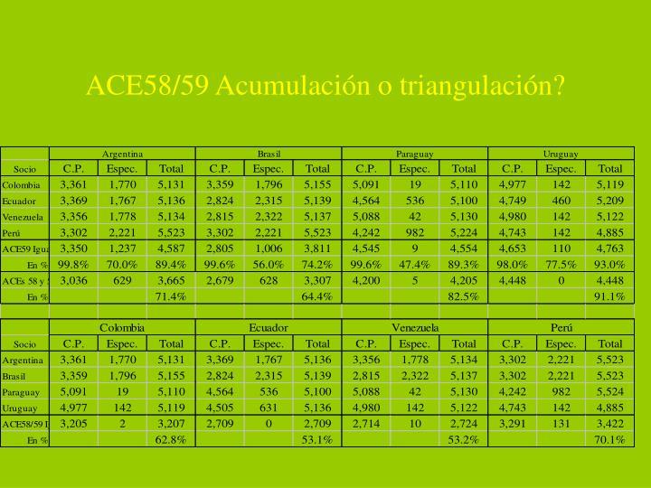 ACE58/59 Acumulación o triangulación?