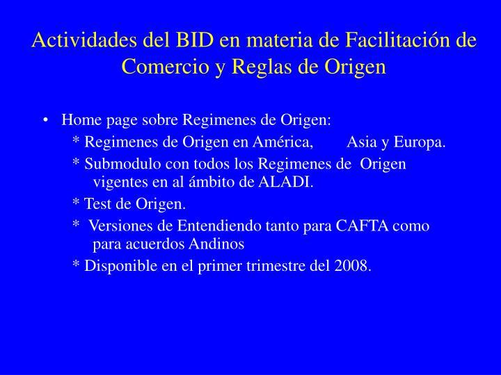Actividades del BID en materia de Facilitación de Comercio y Reglas de Origen