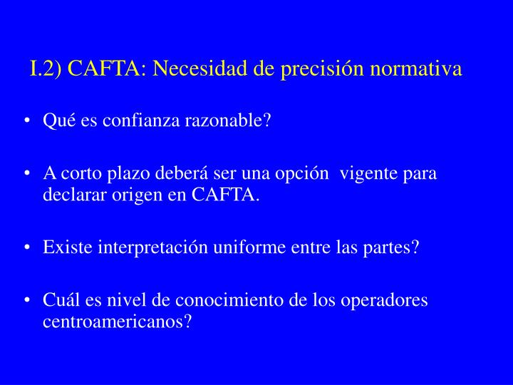 I.2) CAFTA: Necesidad de precisión normativa
