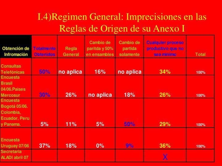 I.4)Regimen General: Imprecisiones en las Reglas de Origen de su Anexo I