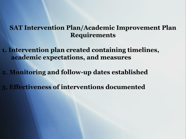 SAT Intervention Plan/Academic Improvement Plan