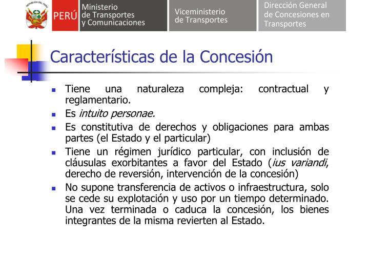 Características de la Concesión