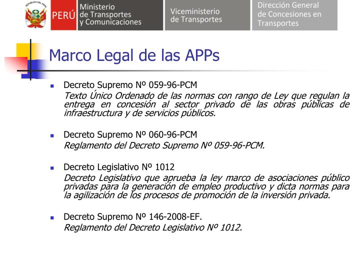 Marco Legal de las APPs