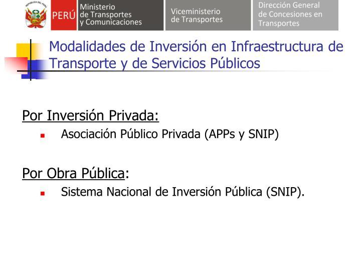 Modalidades de Inversión en Infraestructura de Transporte y de Servicios Públicos