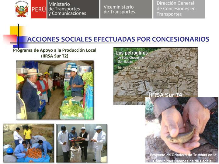 ACCIONES SOCIALES EFECTUADAS POR CONCESIONARIOS
