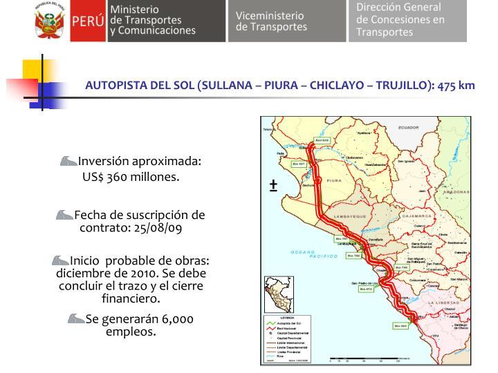 AUTOPISTA DEL SOL (SULLANA – PIURA – CHICLAYO – TRUJILLO): 475 km