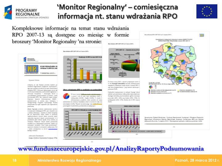 'Monitor Regionalny' – comiesięczna informacja nt. stanu wdrażania RPO