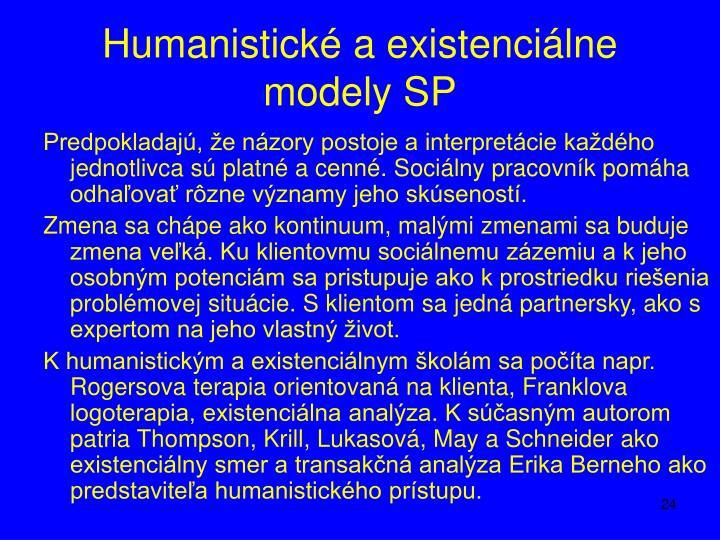 Humanistické a existenciálne modely SP
