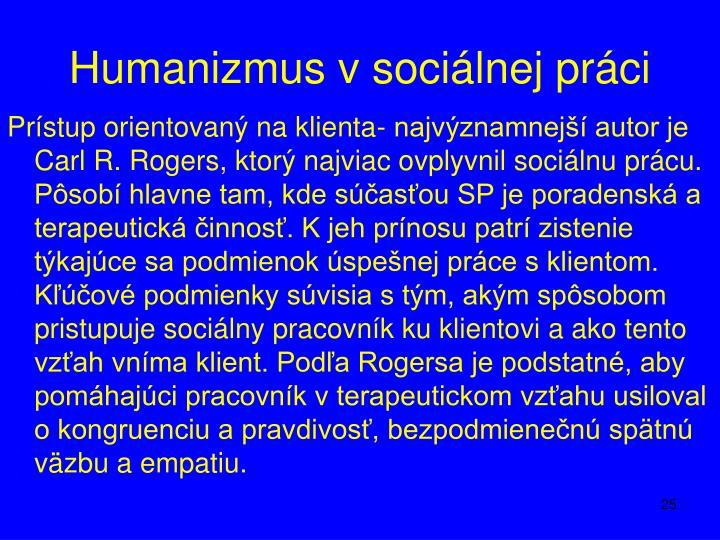 Humanizmus v sociálnej práci