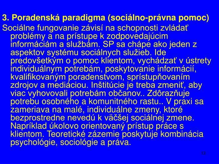 3. Poradenská paradigma (sociálno-právna pomoc)
