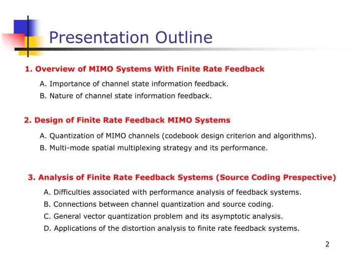 1. Overview of MIMO Systems With Finite Rate Feedback
