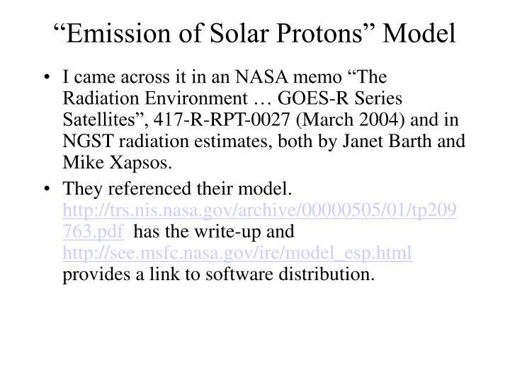 """Emission of Solar Protons"" Model"