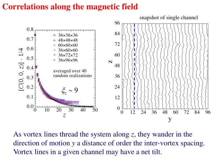 Correlations along the magnetic field