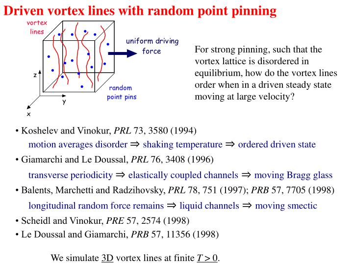 Driven vortex lines with random point pinning