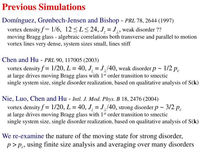 Previous Simulations
