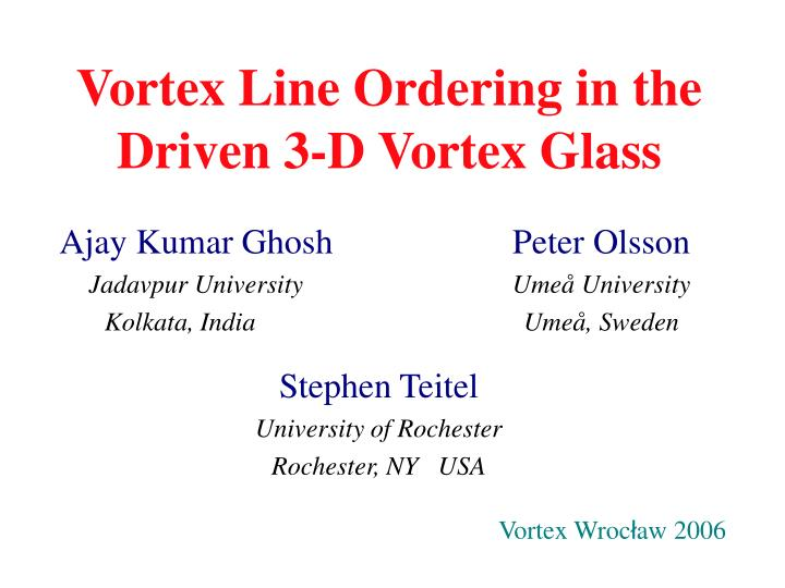 Vortex line ordering in the driven 3 d vortex glass