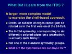 what did i learn from the itds
