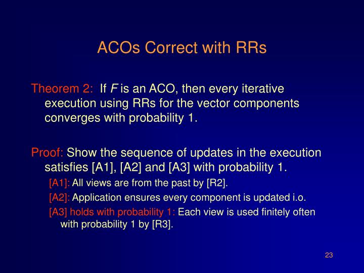 ACOs Correct with RRs