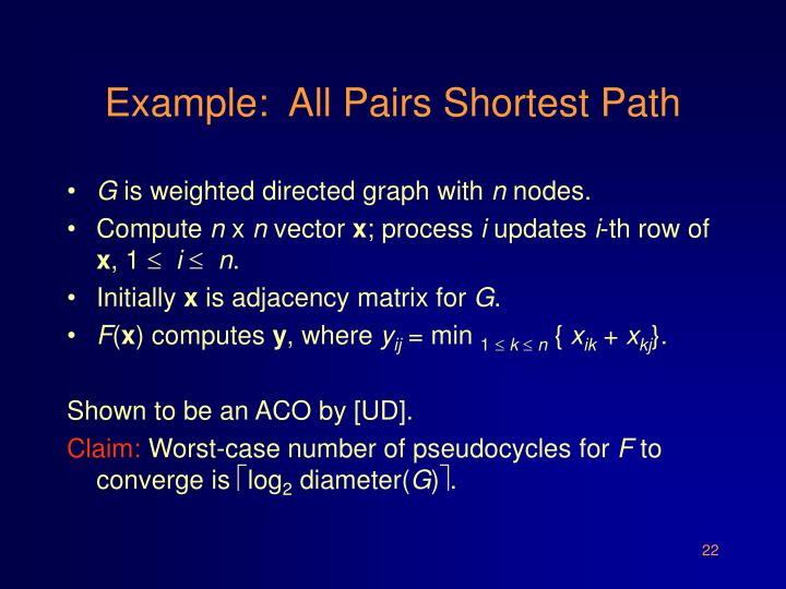 Example:  All Pairs Shortest Path
