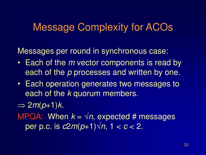 Message Complexity for ACOs
