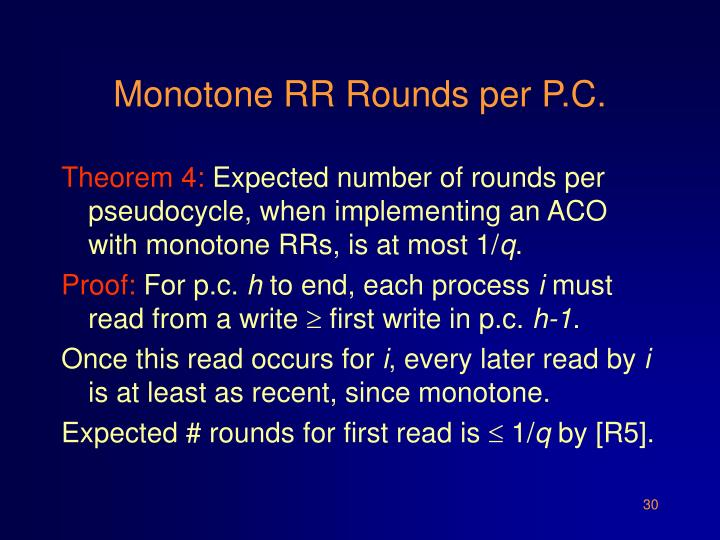 Monotone RR Rounds per P.C.