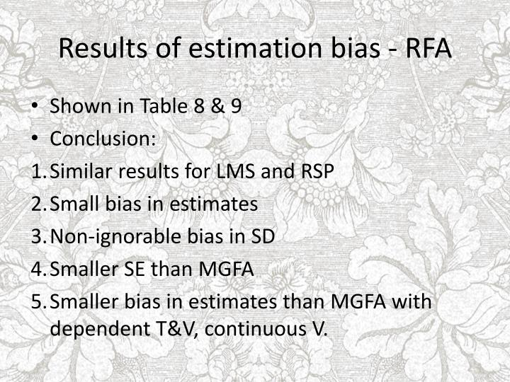 Results of estimation bias - RFA