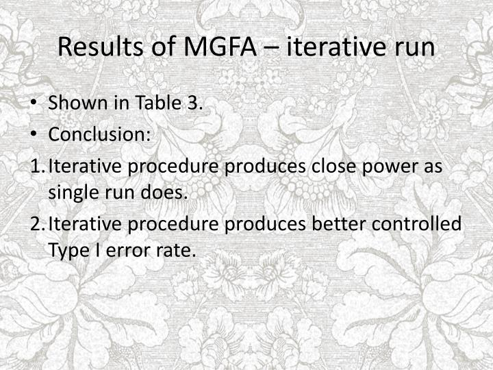 Results of MGFA – iterative run
