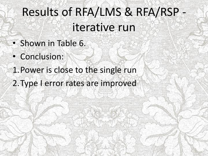 Results of RFA/LMS & RFA/RSP - iterative run