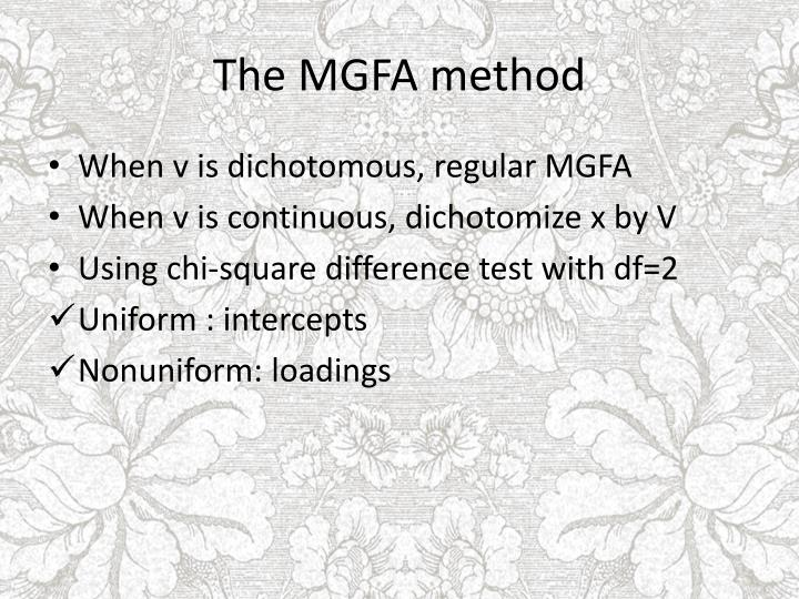 The MGFA method