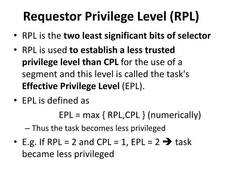 Requestor Privilege Level (RPL)