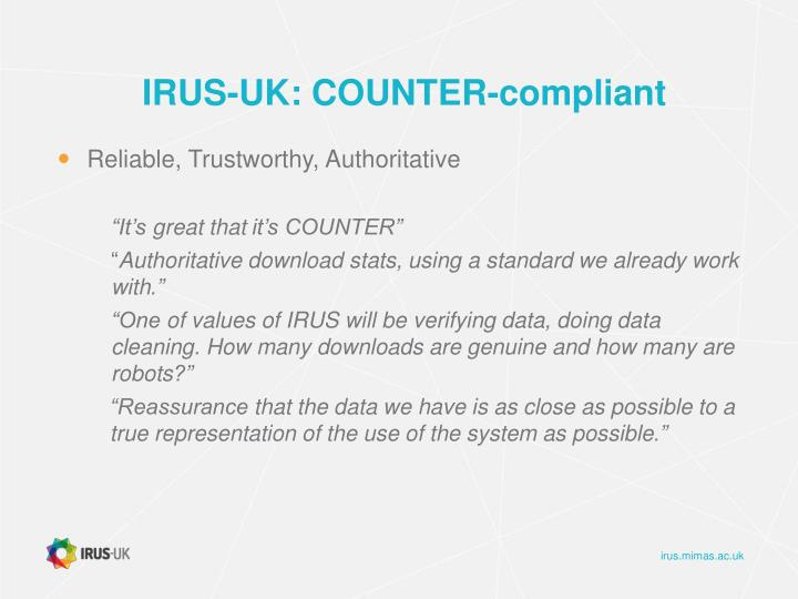 IRUS-UK: COUNTER-compliant