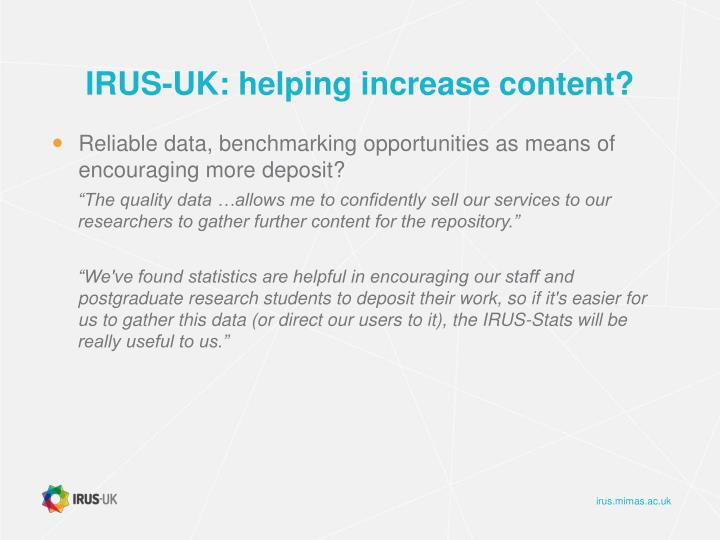 IRUS-UK: helping increase content?