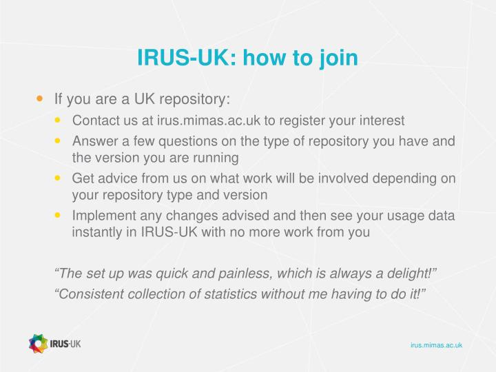 IRUS-UK: how to join