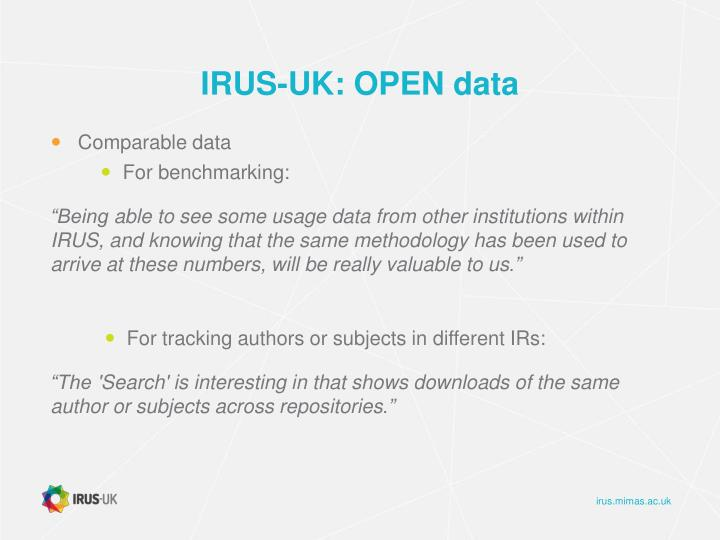 IRUS-UK: OPEN data