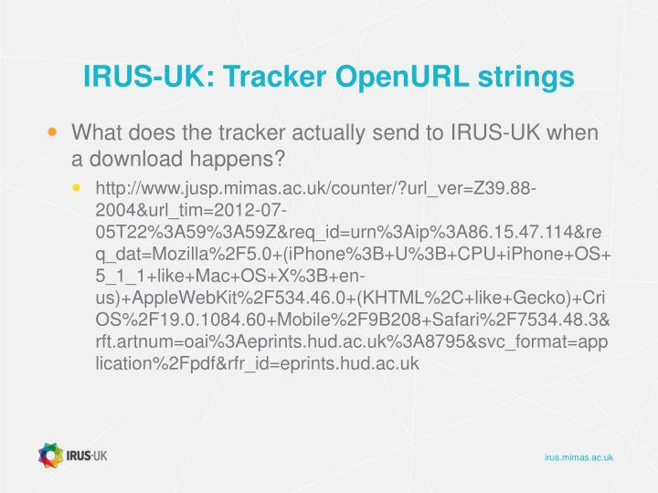 IRUS-UK: Tracker OpenURL strings