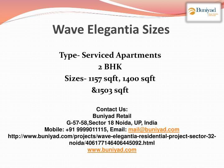 Wave Elegantia Sizes