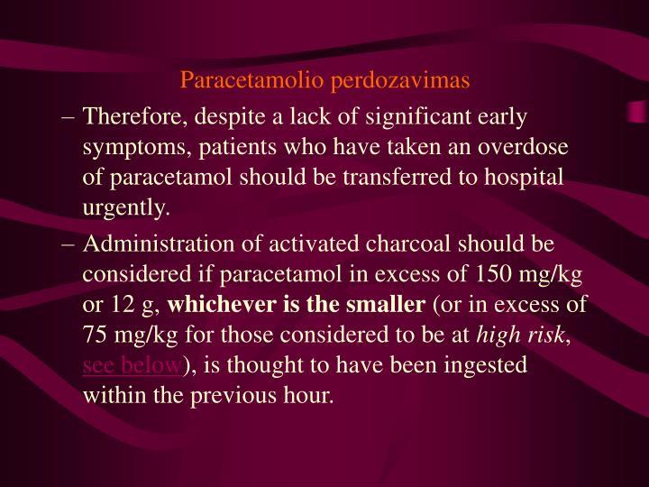 Paracetamolio perdozavimas