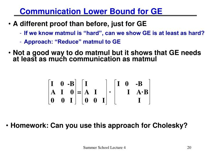 Communication Lower Bound for GE