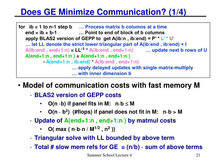 Does GE Minimize Communication? (1/4)