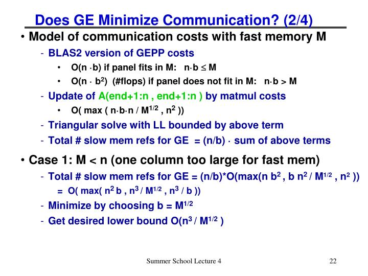 Does GE Minimize Communication? (2/4)